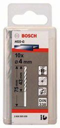 Bosch 2608595059 Metal Drill Bits HSS, G Drill Bit, 4.0 x 43 x 75 mm, 10 in 1 Pack