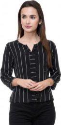 DEEWA Casual 3/4 Sleeve Striped Women Black Top