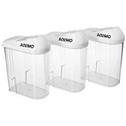 Amazon Brand - Solimo Plastic Storage container Set with sliding mouth (Set of 3, 750ml)