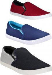 BRUTON Combo Pack Of 3 Casual Shoes Casuals For Men  (Red, Blue, Black, Grey)