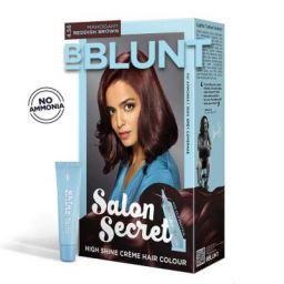 BBLUNT Salon Secret High Shine Creme Hair Colour, Mahogany Reddish Brown 4.56, 100g with Shine Tonic, 8ml