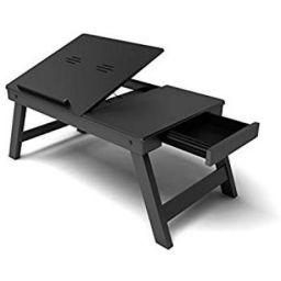 Home Sparkle Wooden Folding Laptop Table (Black)