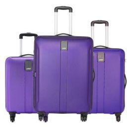 Safari Thorium Sharp Anti-Scratch Combo Set of 3 Purple Small, Medium & Large Check-in 4 Wheel Hard Suitcase