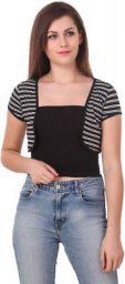 LE BOURGEOIS Women's Stripe frunt Open Short Shrug
