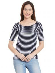 Miss Chase Womens Navy Blue and White Striped Top: Amazon.in: Clothing & Accessories