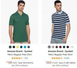 Amazon Brand - Symbol Polos  T-Shirts at Min.80% Off