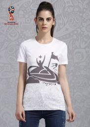 FIFA Graphic Print Women Round Neck White T-Shirt