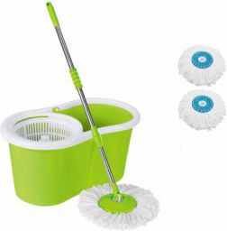 Ketsaal 360° Spin Easy Clean Floor Mop Bucket with Microfiber Spinning Head with 2 Replacement Heads (Color May Vary)