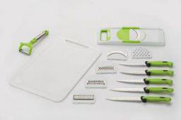 Amiraj Plastic Cutting Tools Set, 13-Pieces, White/Green