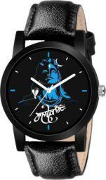 Sponix Mart mahadev-print-dial-black-leather-belt-watch-for-men-boys-girls-original Analog Watch  - For Men