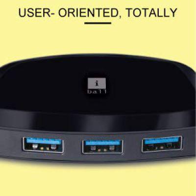 iBall Piano 62 USB 3.0 4-Port Hub (Black)