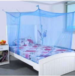 Shahji Creation King Size Single Bed Mosquito Net with Cotton Border, Blue (4x6.5 Feet):