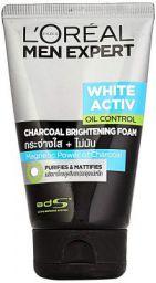L'Oreal Paris Men Expert White Active Oil Control Charcoal Foam & Charcoal Black Face Scrub, 200 ml (Pack of 2)