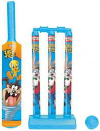 Looney Tunes Kids First Cricket Set with Bat, Ball, 3 Wickets, Base and Bail Cricket Kit