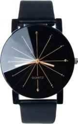 RJL Men's Diamond Glass Black Leather Black Dial Analog Watch  - For Men