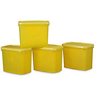 All Time Plastics Sleek Container Set, 850ml, Set of 4, Yellow