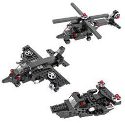 Planet of Toys Building Blocks for Kids, Blocks Ship, Fighter Jet, Helicopter for Kids Boy/Girls - Black (177 Pcs )