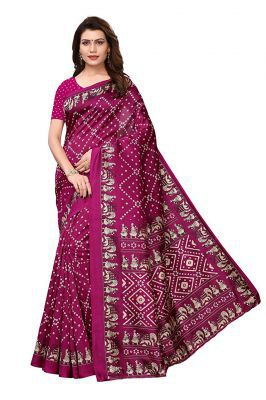 J B Fashion Women's Bhagalpuri Multi Color Saree With Blouse Piece