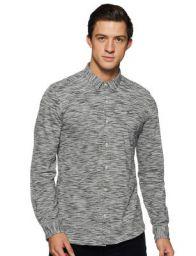 LEE COPPER Mens Solid Regular Fit Casual Shirt (SH-28_Grey_Small)