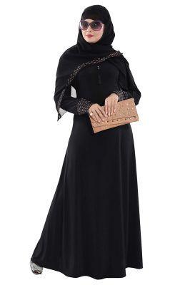 Tucute® Women's Ready to Wear-Instant Velvet Embosed Lycra Abaya Burkha with Waist Belt/Scarf Hijab
