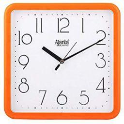 Ajanta Quartz Square Plastic Wall Clock (23.9 cm x 3.2 cm x 23.9 cm, Orange): Amazon.in: Home & Kitchen