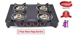 Eveready TGC4B MR Glass Top 4 Burner Gas Stove