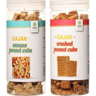 New Tree Mini Crushed Peanut Cube & Mini Sesame Peanut Ladoo Pack of 2 (Gajjak Wt.750gms)