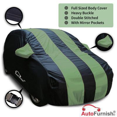 Autofurnish Stylish Green Stripe Car Body Cover for Hyundai i10 - Arc Blue