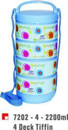 Princeware Hot Meal Plastic Tiffin Set, 550ml, Set of 4, Assorted