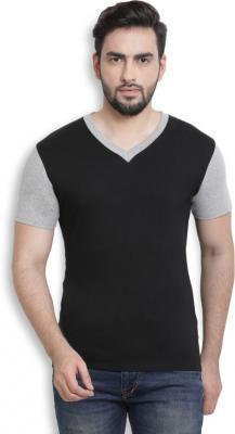 Billion PerfectFit Solid Men V-Neck Black, Grey T-Shirt