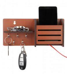 Brown MDF Side-Shelf Pocket Key Holder by Sehaz Artworks
