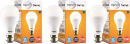 WIPRO 15 W Standard B22 LED Bulb  (White, Pack of 3)