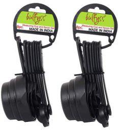 Bulfyss Food Grade BPA Free 8pcs Measuring Cup and Spoon Set, (Set of 2, Black)