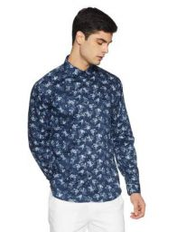 V Dot Men's Printed Slim Fit Casual Shirt