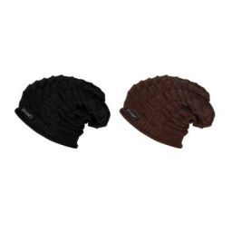 Noise Boy's Acrylic Beanie Knitted Winter Cap Black and Brown_XL (NOICAPWNTRCMB003)