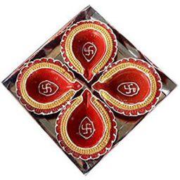 eCraftIndia Terracotta Diya Set (10 cm x 10 cm x 3 cm, Pack of 4, TDIYACD423)
