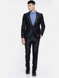 Parx Men Blue Single-Breasted Urban Fit Formal Suit