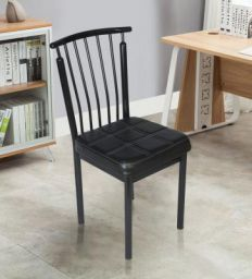 Castello Fix Metal Chair in Black Leatherete by Confortofurnishing
