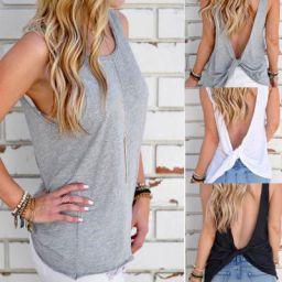 Sunward Women's Summer Twist Backless Stretchy Top Cute Casual Shirt