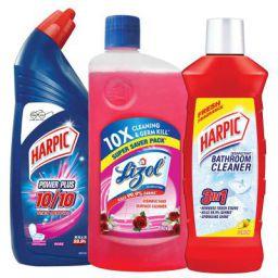 Harpic Powerplus Disinfectant Toilet Cleaner, Rose - 1 L + Lizol Disinfectant Floor Cleaner, Floral - 975 ml + Harpic Ba