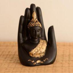 eCraftIndia Jaipur Ace Golden Handcrafted Palm Buddha Polyresin Showpiece (12.5 cm x 7.5 cm x 17.5 cm, Black)