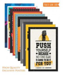 Paper Plane Design Inspirational Wall Poster (Set of 10)