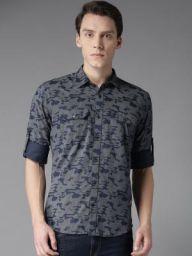 DENNISON Men Navy Blue & White Slim Fit Camouflage Print Casual Shirt