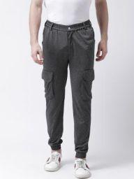 REALM Men Grey Slim Fit Self Design Joggers