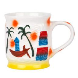 [Set of 2] Saavre® Hand Made Good-Day Series Goa Design Ceramic Milk Mugs
