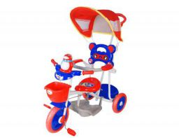 Toyhouse Easy to Steer Penguin Baby Tricycle with Canopy and Push Handle Steering System, Red/Blue