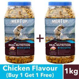 Meat Up Chicken Flavour, Real Chicken Biscuit, Dog Treats -500g Jar (Buy 1 Get 1 Free)