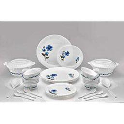 Sedulous Exclusive Plastic Dinner Set Pack of 36 Pieces Dinner Set (Floral Print, White)