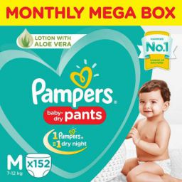 Pampers New Diapers Pants Monthly Box Pack, Medium (152 Count)