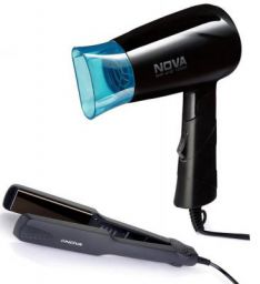 Nova Miss Freshers Combo Kit, Hair Straightener and Hair Dryer (NHS-860 & NHP-8100/05), Black